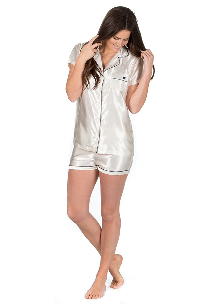 Forever Dreaming Ladies Lightweight Summer Shorts Short Sleeve Top Satin Pyjama Set