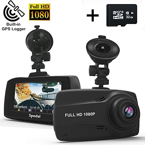"Mount Speed Sensor - Spedal Dash Cam GPS, 2.7"" LCD Full HD 1080P Ultra Wide-Angle Dashboard Camera, DVR Vehicle Dash Camera G-Sensor, Motion Detection, Loop Recording, Night Vision(32G SD Card Included)"