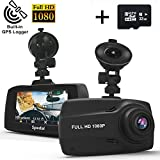 """Spedal Dash Cam with GPS, 2.7"""" LCD Full HD 1080P Ultra Wide-angle Dashboard Camera, DVR Vehicle Dash Camera with G-Sensor, Motion Detection, Loop Recording, Night Vision(32G SD Card included)"""