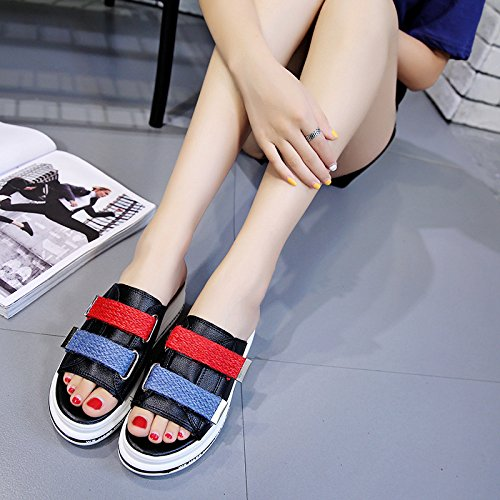 WHLschuhe Damen-Hausschuhe Lässig Weiblich Sandalen Sandalen Sandalen Feder Britische Mode Wild Rutschfeste Wohnung Mit 7cb0ef