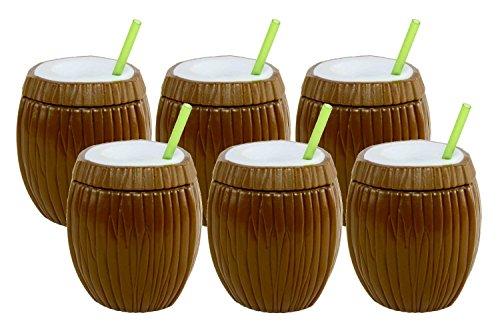 6 Pack Set Tiki 16oz Coconut Tropical Travel Tumbler Cup Plastic Drinking Glass & Straw BPA Free Plastic -