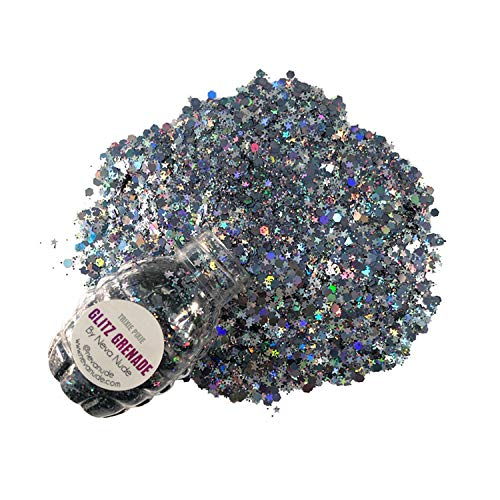 Neva Nude Glitz Grenade Keychain - Chunky Loose Glitter for Festivals, Raves, and More | Super Sparkly | Use on Body, Cheeks, Face, and Hair | Cosmetic Grade (Trixie Pixie Gunmetal Holographic)