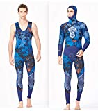 JASZHAO 3MM Neoprene Spearfishing Wetsuit Full Body Two-Piece Set with Vest for Men Underwater Fishing Hunting Diving Swimming Wetsuits