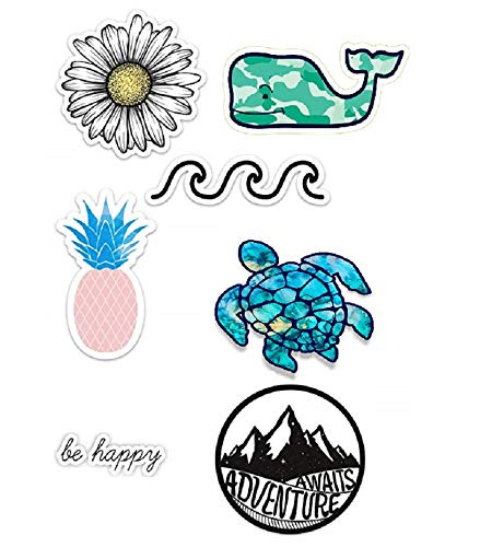 [ 7 Pack ] Cute Ocean/Beach Vinyl Laptop and Water Bottle Decal Turtle Stickers [ 7 Pack ] Made in US GET A Few ! (Lizzie Mcguire Best Friend)
