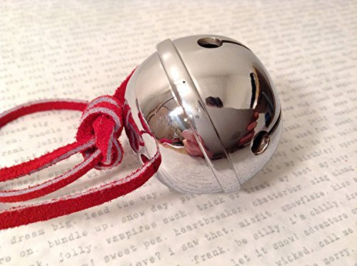 Large Silver Believer Polar Express Sleigh Bell with Real Leather Harness