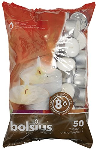 Bolsius 8 Hour Tea Lights - (White) - 50 Tealights In a Bag (Tea Lights)