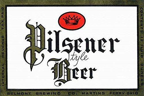 The Pilsener Style Beer label was made by the Belmont Brewing Company in Martins Ferry Ohio for its post-prohibition beer bottles Poster Print by Unknown (18 x 24)