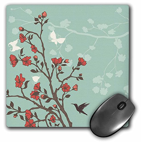 3dRose Anne Marie Baugh Flowers - Red Cherry Blossoms With Hummingbirds Against A Blue Background - MousePad (mp_78448_1) ()