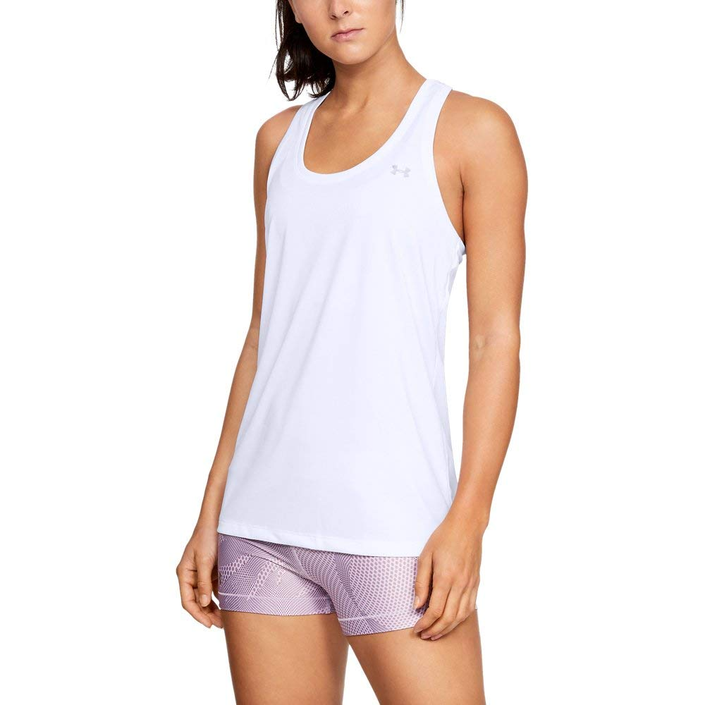 Under Armour Women's Tech Solid Tank Top, White (100)/Metallic Silver, Medium by Under Armour