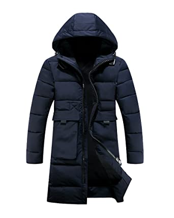 f2cc2415d PengGeng Mens Thicken Warm Long Winter Hooded Coats Quilted Parka Jackets  Navy XL