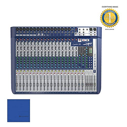 Soundcraft Signature 22 22 Channel Mixer with Microfiber and 1 Year Everything Music Extended Warranty