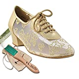 Women's Ballroom Dance Shoes Salsa Latin Practice Dance Shoes Light Gold Leather 2002EB Comfortable - Very Fine 1.5'' Heel 9 M US [Bundle of 5]