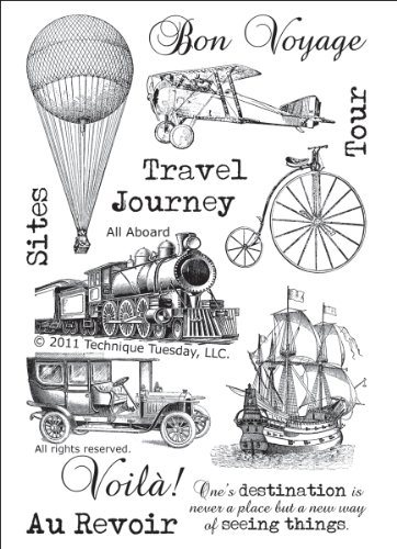 All Aboard Vintage Travel Clear Stamps   Clear Rubber Stamps   Photopolymer Stamps   Card Making Supplies   Scrapbooking Stamps