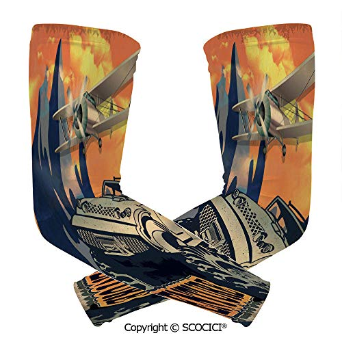 Comfort and Durable Lightweight Arm Guard Sleeve Grunge Retro Poster of a Big Car with Huge Tyres and Biplane on The Mountains Breathable, Flexible Sleeves Protection