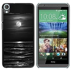 iKiki Tech / Estuche rígido - Waves Black White Moon Night - HTC Desire 820