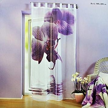 Wunderbar Schlaufenschal Orchidee Wohnzimmer Vorhang Vorhangschal Store Blume Mit  Motiv Blüte Riesenorchidee Dekoschal Schlaufengardine Gardine