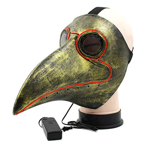 Overstep Halloween Plague Beak Long Nose Horror Doctor Glowing Mask Carnival Party Cosplay Costume Mask]()