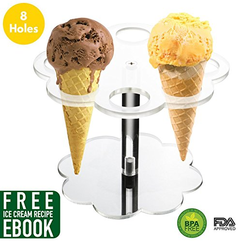 Easy to Assemble 8 Holes Round Acrylic Sugar Cone Holder Stand Ice Cream Rack to Display Ice Cream Snow Cone French Fries Sweets Savory - Ice Cream Recipe eBook Included - French Fry Rack