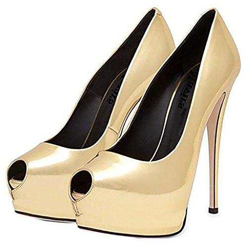 Mavirs Mujeres Sexy Peep Toe Tacones De Aguja Tacones Altos Slip On Plataforma Bombas Talles Grandes Vestido De Fiesta Zapatos De Boda Oro
