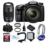 Sony Alpha 77 SLTA77 A77 A-77 W/ Sony 16-50 Lens + Sony 75-300mm Lens + 64GB + Bag + Battery + ForeGrip Handle + LED + Candeez York Headphone, Best Gadgets