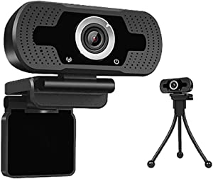 Full HD Webcam with Microphone for Desktop and Laptop, 1080P Computer Camera, Bonus Tripod and Lens Cover, USB Plug and Play, Web Cam for Gaming Live Streaming, Video Conferencing, Online Lessons