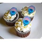 Sugar Robot Inc. Edible Mini Peacock Feathers - Set Of 24- Cake Decorations Cupcake Topper