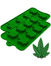 Marijuana Pot Leaf Silicone Candy Mold Trays for Chocolate Cupcake Toppers Gummies Ice Soap Butter Small Brownies or Party Novelty Gift