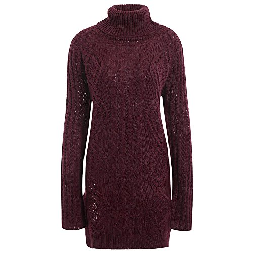 Dezzal Women's Long Sleeve Turtleneck Side Slit Pullover Cable Knit Sweater (Wine Red)