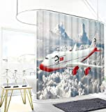 JaHGDU Shower Curtain Large Aircraft 3D Digital Printing Pattern Modern Style Soft Texture Washable Dust-Resistant Waterproof Shower Curtain (Color : 180 wide180 high)