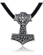 DonDon Heren halsketting leer 50 cm en hanger Thor hamer van roestvrij staal verpakt in een zwart fluwelen zakje