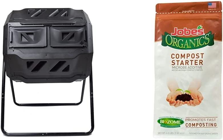 MaxWorks 80699 Garden Compost Bin Tumbler, 42 Gallon Capacity with 2 Chambers Dual Rotating Composting Tumbler , Black & Jobe's Organics Compost Starter, 4 lb