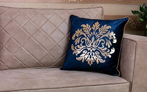 WPM Designer Collection Home Décor: Metallic Gold Collection: 18 inch x 18 inch Throw Pillow Cushion Cover with Insert. Choose from Burgundy, Beige or Royal Blue (Royal Blue/Gold) ()