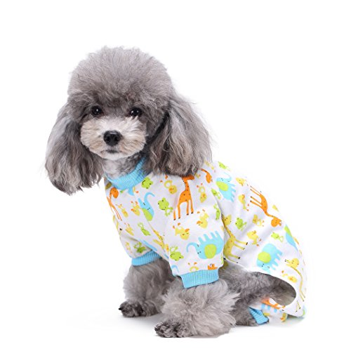 BONDOGLAND Cute Giraffe Dog Pajamas for Small Dogs Puppy Cotton Jumpsuit Clothes JPS Outfit Pet Doggie Onesies Apparel