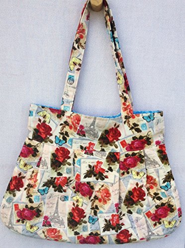 Vintage French Pleated Tote, French Shabby Chic Shoulder Bag, French Script Fabric, 100% Cotton Quilted, Paris, Eiffel Tower, Red Roses