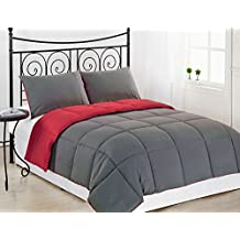 Clara Clark Down Alternative Reversible Comforter with Pillow Shams, King Size, Gray/Red