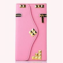 Samsung Galaxy Note 5 Wallet Case,Hica Multi-function Premium PU Leather Gold Rivets Zipper Shockproof Portable Wallet Cover with Card Slots for Samsung Galaxy Note 5,Pink
