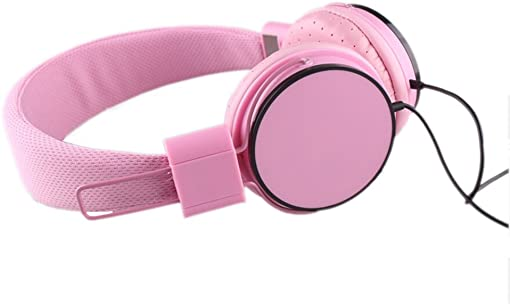 YouthCamp Stereo Lightweight Folding Portable Headphones, Extremely Soft Ear Pad, Noise Cancelling Cute Earphones Stereo Sound Gaming Music Equipment Earphone Children Headphone Pink