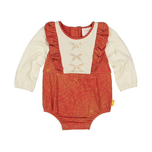 Masala Baby Baby Girls Organic Maddy Bodysuit Golden Web Brick Red, 3-6M