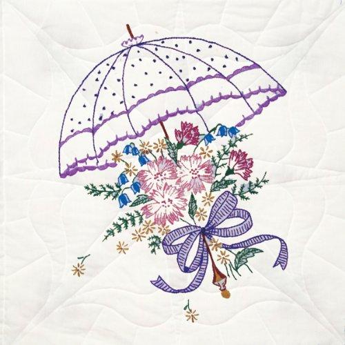 Fairway 92106 Quilt Blocks, Flower Umbrella Design, White, 6 Blocks Per (Design Block Flowers)