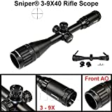 Cheap SNIPER Rifle Scope 3-9X40, QTA W/E, Flip-open Lens Caps, Rings include
