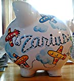 Handpainted Personalized Fly Me Airplanes Piggy Bank