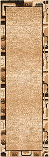 Well Woven Salotto Beige Geometric Border Hand Carved Modern 2×7 2 3 x 7 3 Runner Area Rug Easy to Clean Stain Fade Resistant Abstract Contemporary Thick Soft Plush