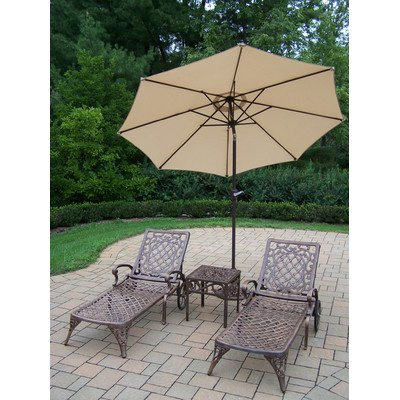 Oakland Living Mississippi Cast Aluminum 2 Cushioned Chaise Lounge with 18-Inch Side Table Plus 9-Feet Tilt Beige Umbrella and Stand