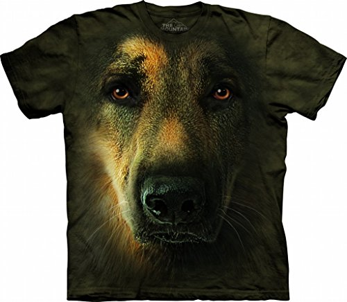 (Mountain German Shepherd Portrait Adult Size T-shirt , Brown ,)