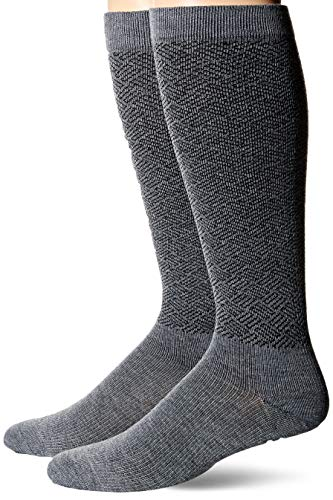 Dr. Scholl's Men's American Lifestyle Pin Dot Compression Socks 2 Pair, Charcoal Heather, Shoe Size: 7-12 (Large)