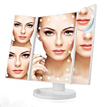 Makeup Mirror Tri-Fold Vanity Lighted Touch Screen with 21 LED, 1X/2X/3X/10X Magnification Illuminating Travel Cosmetic Mirror (White)