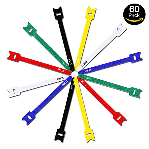 iXCC 60 Packs Reusable Fastening Cable Ties, Wire Straps, Hook and Loop Microfiber Cloth Cord Ties [6-Inch] [Multicolor]