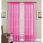 WPM 2 Piece Beautiful Sheer Window Elegance Curtains/drape/panels/treatment 60  w X 84  l (Hot Pink)