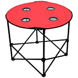 Sundale Outdoor Foldable and Portable Round Table for Picnic, Camping and Taligating with 4 Cup Holders and Carry Bag, Red
