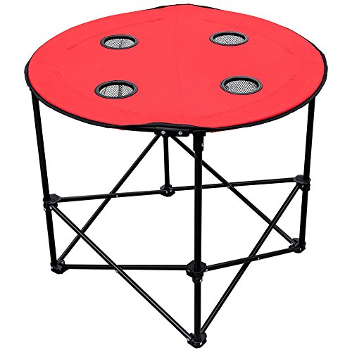 Sundale Outdoor Foldable and Portable Round Table for Picnic, Camping and Taligating with 4 Cup Holders and Carry Bag, Red by Sundale Outdoor